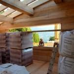 Bautag 28 - 30.7. - Dachsparren montiert, Lehmputz und Lehmziegel unter Dach