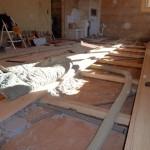 Bautag 94  - 24.10. - Verlegen Schlossdielen OG und Isolierung Cellulosewolle